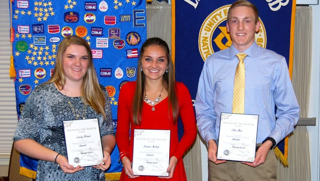 Cassidy Altland, left, Hannah Markle, center, and John Mall, right, were the recipients of the Exchange Club of Hanover's Youth of the Month Awards.