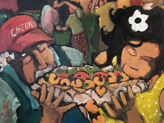 This artwork by Trent Oubre is the backdrop of the Acadiana Po'Boy Festival official poster.