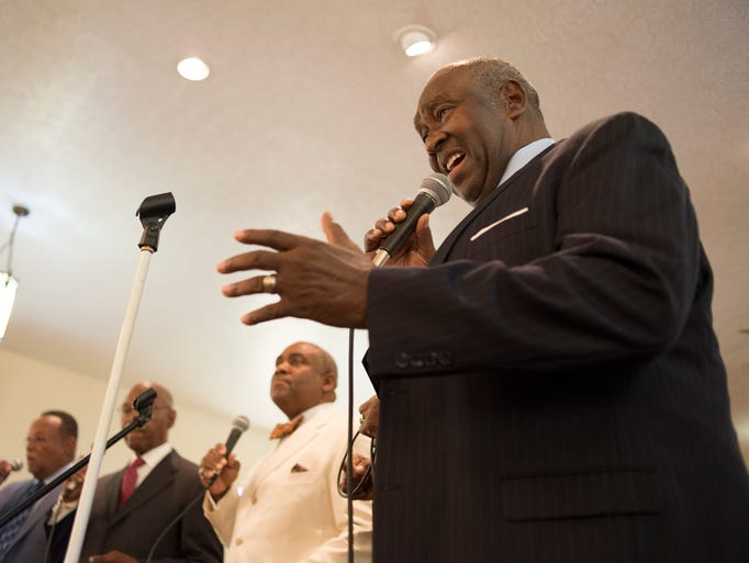 Robert Smith performs with The Spiritual Wonders, Louisville's acapella Gospel singing group, at Howard Chapel Church before the start of the reenactment of a civil rights march.  June 22, 2014.