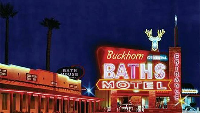 University of Arizona architectural graduate students envision a future for the long-closed Buckhorn Baths on Jan. 12 at the Mesa Arts Center.
