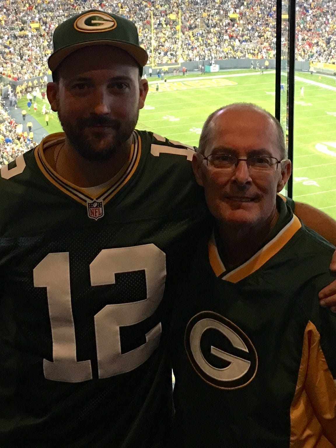 Spencer Laird (left) and Tim Moran at a Green Bay Packers