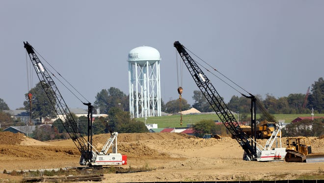 Union City, in the northwest corner of the state, is seeing a resurgence of activity on sections I-69 located in the surrounding area. A city water tower is seen not far from construction activity on I-69 near Hwy. 51 on Friday, Oct. 28, 2016.