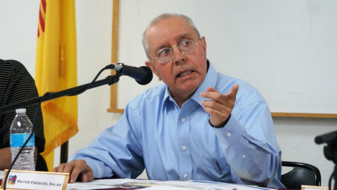 Columbus Mayor Esequiel Salas at the village council meeting May 16.