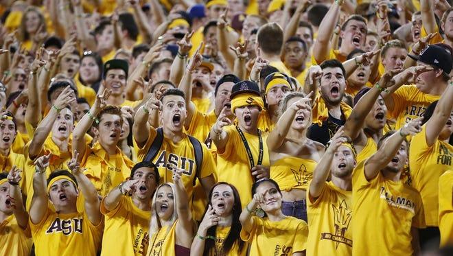 ASU Sun Devils fans cheering.