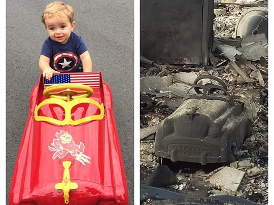 Jeff Okrepkie's son's favorite toy, before and after the fires that decimated the family's Santa Rosa home in October 2017.