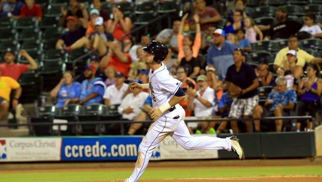 Hooks' Kyle Tucker runs to second base against Frisco on Thursday, June 22, 2017, at Whataburger Field in Corpus Christi.