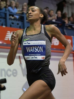 Sammy Watson of Rush-Henrietta High places sixth in the women's 800-meters in a national high school record 2:01.78 during the 110th Millrose Games at The Armory on Feb 11, 2017.