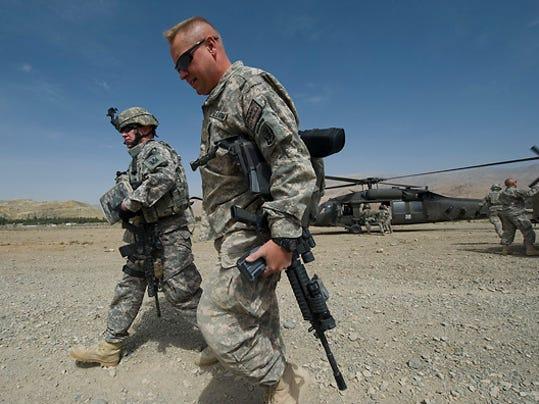 Maj. John McCathur of North Carolina arrives at Forward Operating Base Kiwi outside Bamian City in central Afghanistan. (RYAN MERCER, Free Press)
