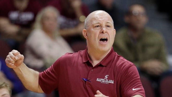 Santa Clara coach Herb Sendek reacts after a play against Arizona during the second half of an NCAA college basketball game Thursday, Nov. 24, 2016, in Las Vegas. Arizona won 69-61.
