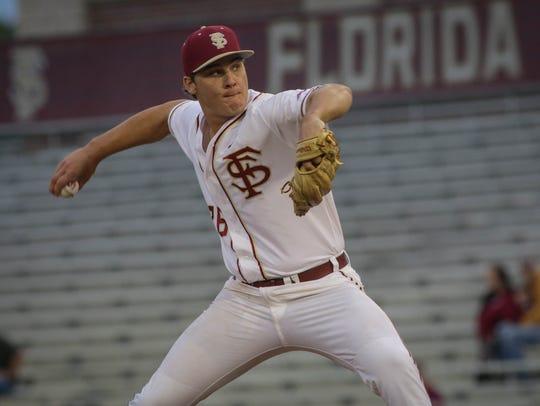 Florida State starter Cole Sands gets ready to deliver