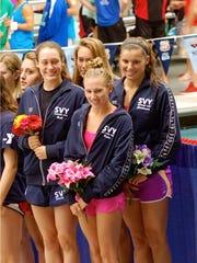 Women's 200-meter freestyle champions, Megan Bull, Alex Gebel, Katrina Kuhn, and Holly Christensen.