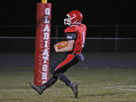 Riverheads' Zac Smiley scores a third quarter touchdown in the Region 1B Final football game against William Campbell High School on Friday, Nov. 24, 2017 in Staunton.