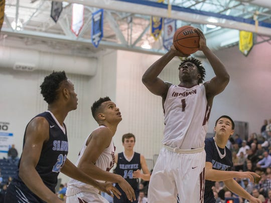 Don Bosco's Marcellus Earlington puts in a second-half basket. Don Bosco vs Shawnee in NJSIAA boys TOC semifinal game in Toms River NJ on March 15, 2018