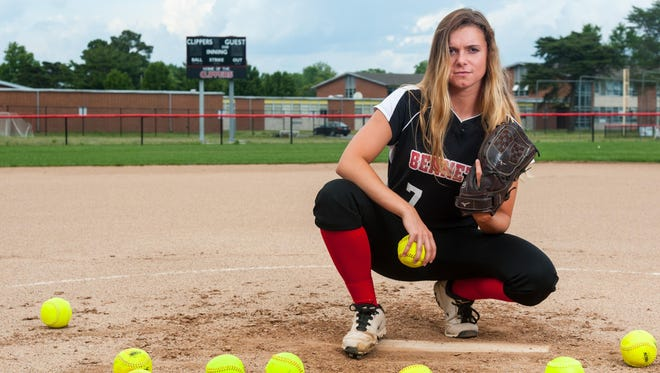 James M Bennett senior pitcher Kasey Donalds is the Bayside South Softball Player of the Year.