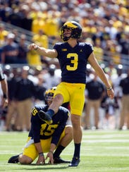Quinn Nordin is 11-for-13 on field goals this season.