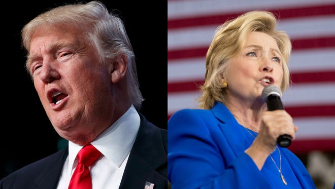 Left: Donald Trump speaks to the National Guard Association of the United States, Monday, Sept. 12, 2016, in Baltimore. Right: Hillary Clinton speaks at a rally at Johnson C. Smith University, in Charlotte, N.C., Thursday, Sept. 8, 2016.