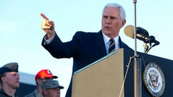 Vice President Mike Pence speaks during a visit to