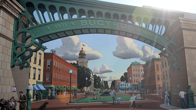 Bucyrus' landmark mural catches rays of sun Tuesday afternoon.