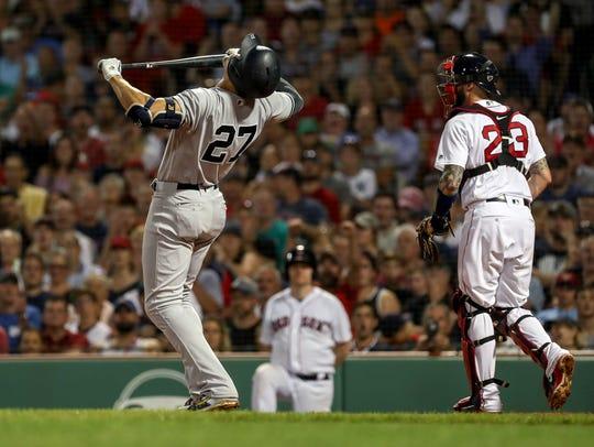 Aug 2, 2018; Boston, MA, USA; New York Yankees left