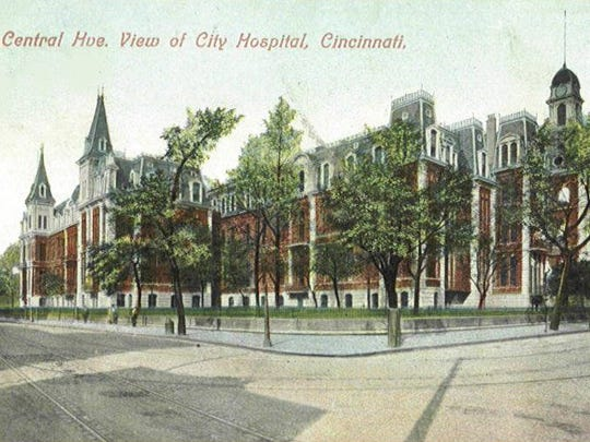 A postcard shows Cincinnati General Hospital, formerly Commercial Hospital, at 12th Street and Central Avenue.