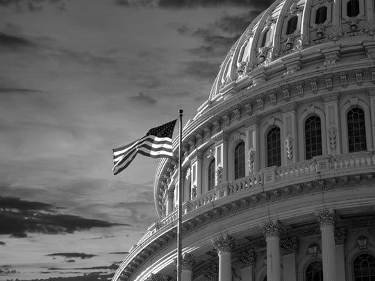 dome of the US capitol building and American flag in black and white