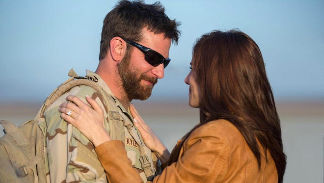 Bradley Cooper as Chris Kyle and Sienna Miller as Taya Renae Kyle.