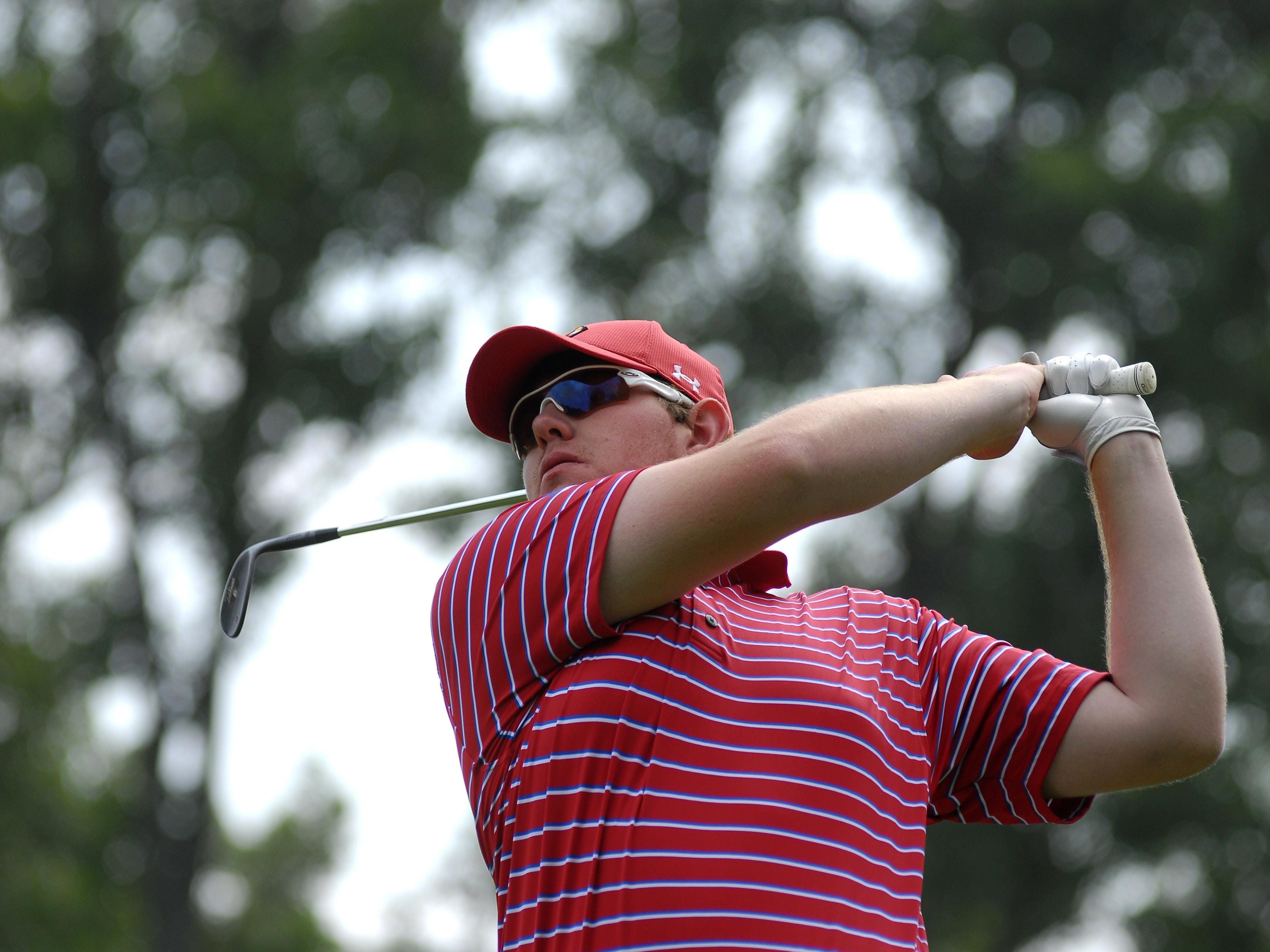 Mason Motte tees off at the second hole Sunday, July 12, during the Port Huron Elks Men's Invitational.