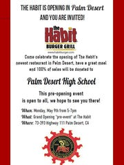 The Habit Burger Grill in Palm Desert will host a fundraiser