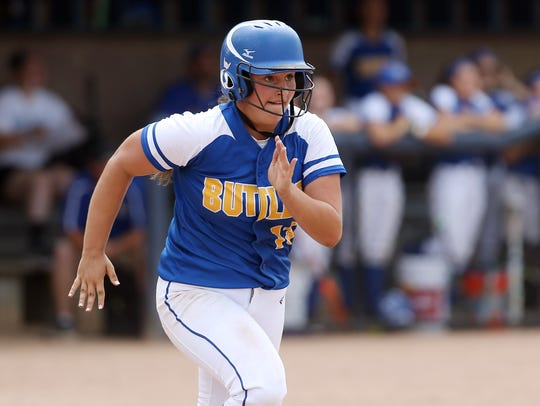Butler's Kellie Faber heads to first on a single in