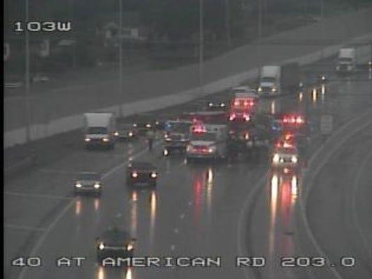 I-40 westbound traffic slowed after crash