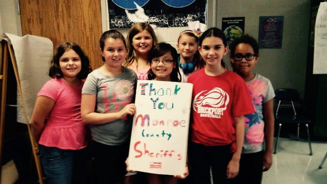 Students from Mrs. Postilli's class at the Hill School in Brockport made a card for Thank a Police Officer Day. provided photo