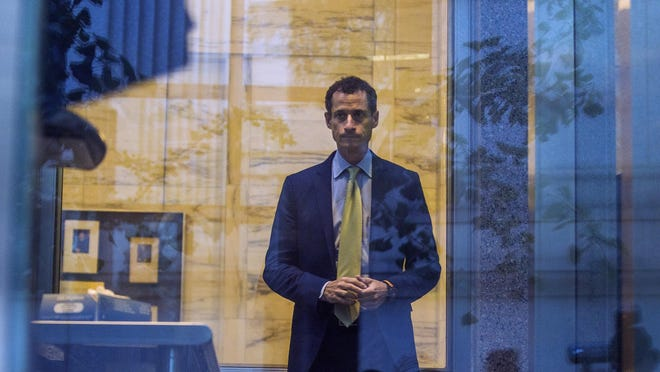 Former Congressman Anthony Weiner (D-N.Y.) enters the federal court for his sentencing hearing in a sexting scandal, Monday, Sept. 25, 2017, in New York. Weiner was sentenced Monday to 21 months in prison for sexting with a 15-year-old girl. (AP Photo/Andres Kudacki)
