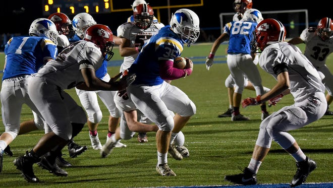 Maysville's Caden Mercer closes in on the end zone against Coshocton in a 32-6 win on Friday, at the Maysville Athletic Complex.