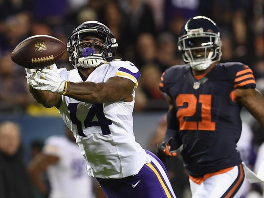 Stefon Diggs (14) of the Minnesota Vikings is unable