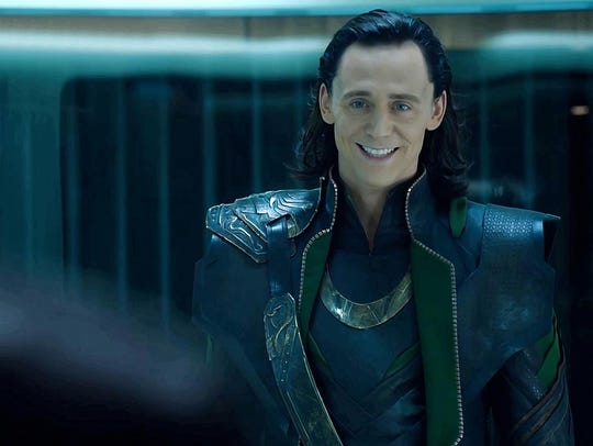 "Tom Hiddleston plays Loki in ""The Avengers."""
