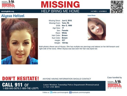 Alyssa Heltzel is listed as missing through the Center