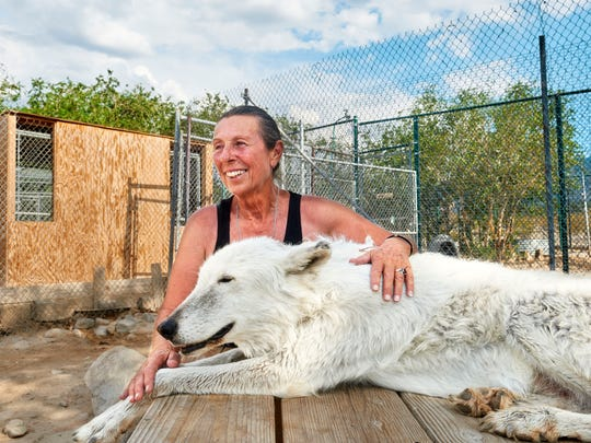 Tonya Littlewolf with a wolf at the Wolf Mountain Sanctuary in Lucerne Valley.