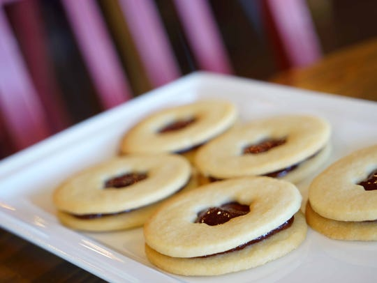 Strawberry linzer cookies for sale at the new De La