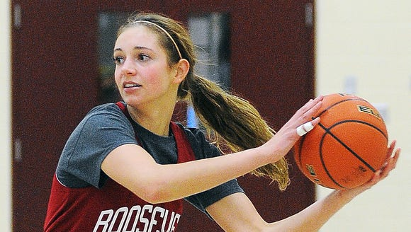 Roosevelt's Tagyn Larson participates in a drill during