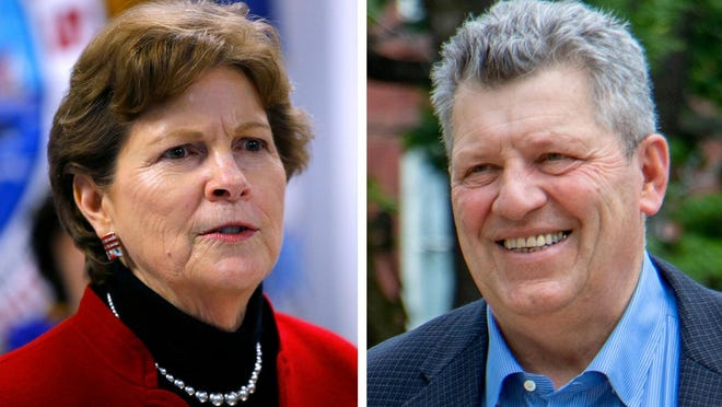 """U.S. Sen. Jeanne Shaheen and 2020 Republican opponent Bryant """"Corky"""" Messner."""