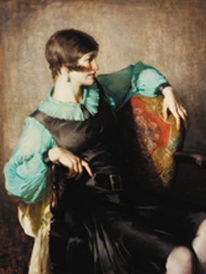 """Portrait of Helen Gallagher (Black and Green),"" (ca. 1928) by Malcolm Parcell (1896-1987). Oil on canvas mounted on board, 44  1/2  x 40 inches. Gift of the Estate of Malcolm Purcell, Westmoreland Museum of American Art."