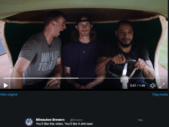 """Brent Suter (left),  Josh Hader and Jeremy Jeffress were at the center of the Brewers' """"Dumb and Dumber"""" parody video earlier this season. Suter played Jim Carrey's role of Lloyd."""