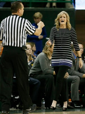 Texas-Arlington head coach Krista Gerlich argues a foul called against her team in the second half of an NCAA college basketball game against Baylor on Friday, Nov. 13, 2015, in Waco, Texas. (AP Photo/Tony Gutierrez)