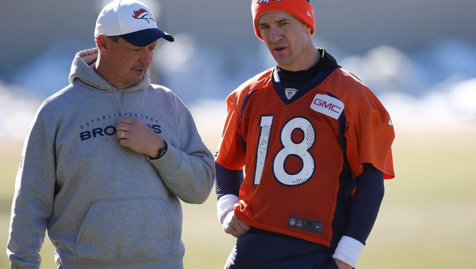Denver Broncos offensive coordinator Rick Dennison,