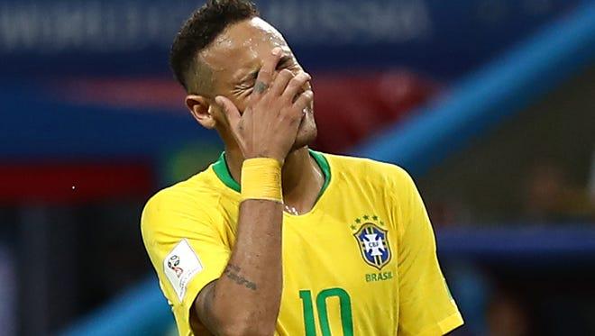Neymar during the quarterfinal loss against Belgium.
