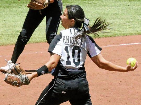 Rudy Gutierrez—El Paso Times Hanks pitcher Kaylyn Bujanda  gets a pitch off against Chapin Saturday.