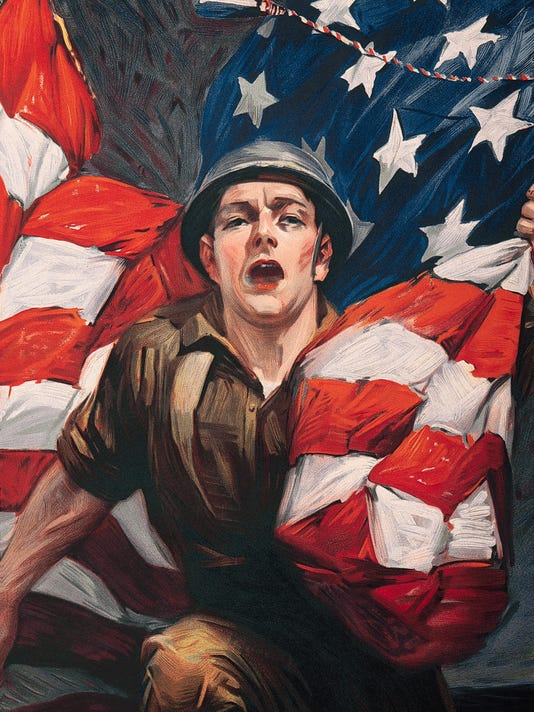 World War one poster of soldier and US flag