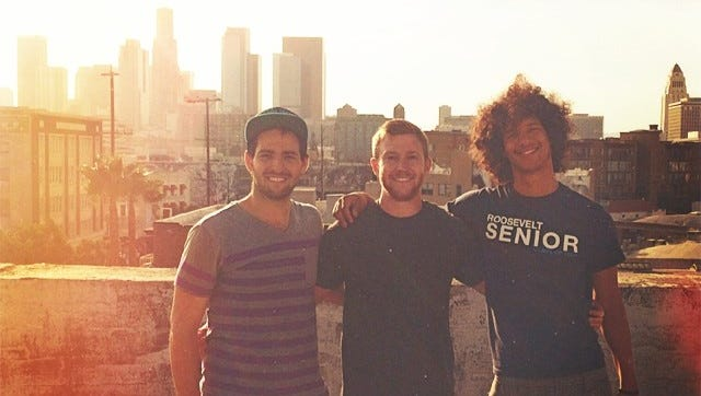 From left, Andrew Zenn (Creator/Director), Alex Sandberg (Cinematographer), and Edgar Rosa (Producer), the team that worked on the Piggyback spoof video.