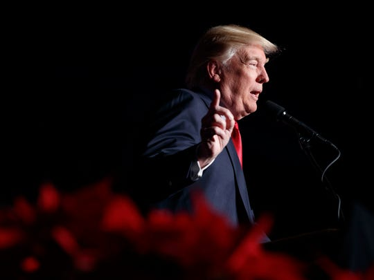 President-elect Donald Trump speaks during a rally at the Giant Center, on Dec. 15 in Hershey, Pa.