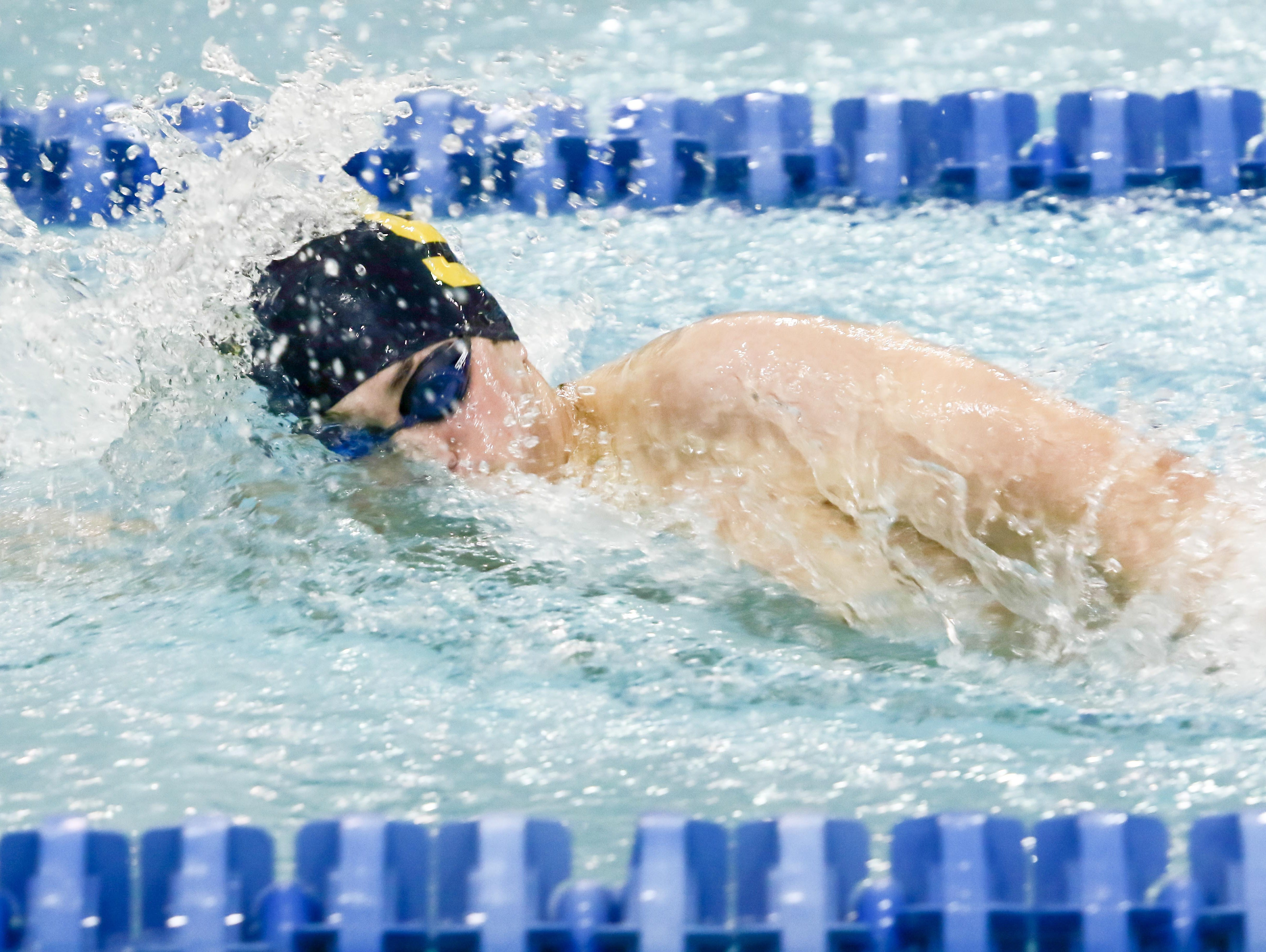Salesianum Joey Oster participates in the 200-yard individual medley during the boys swimming and diving state tournament Saturday at Rawstrom Natatorium, Carpenter Sports Building in Newark.